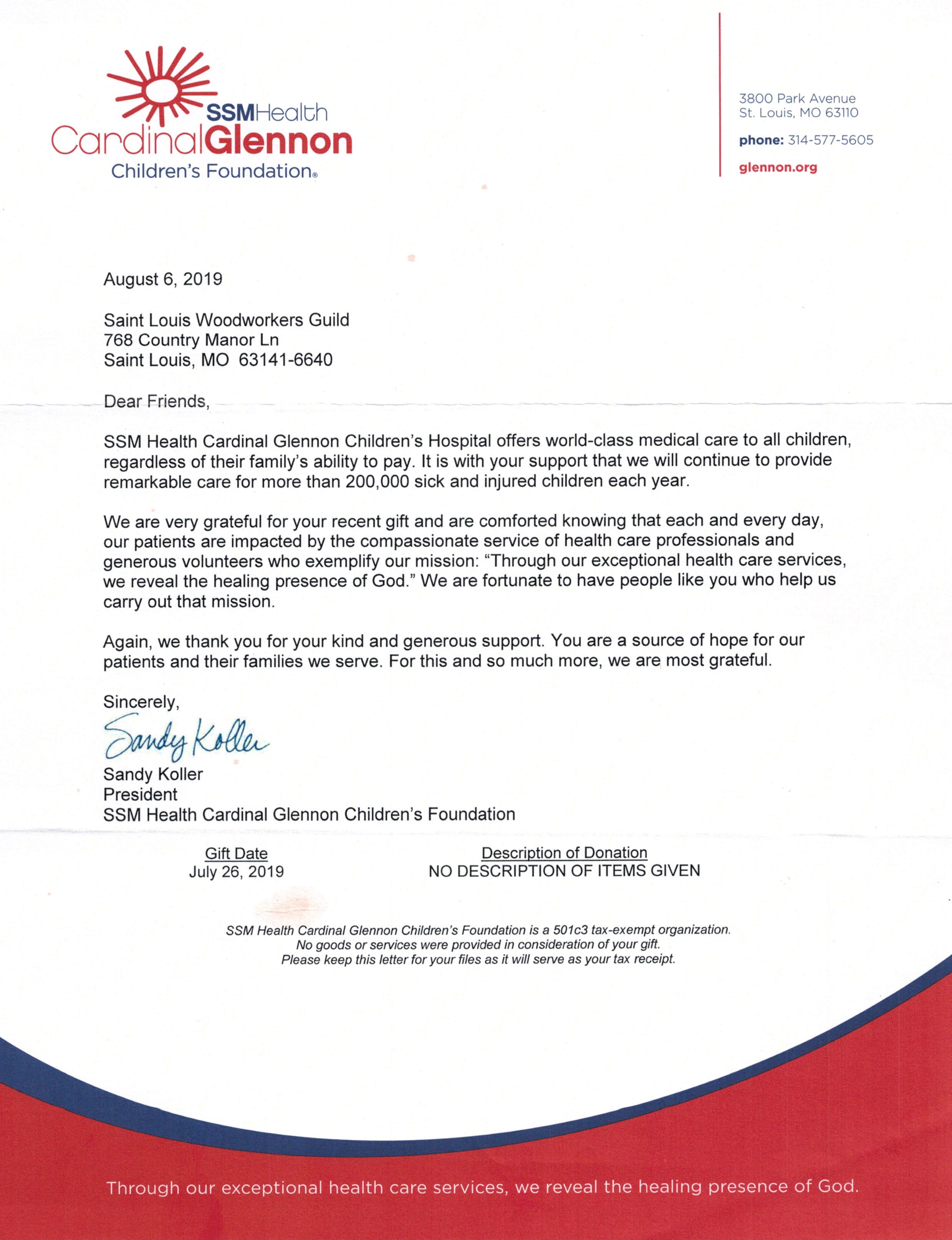 Thank you letter from SSM Health Cardinal Glennon Children's Foundation